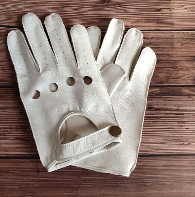 Men's Natural Sheepskin Leather Hollow Out Driving Gloves Male Genuine Leather Breathable Thin Gloves R1092