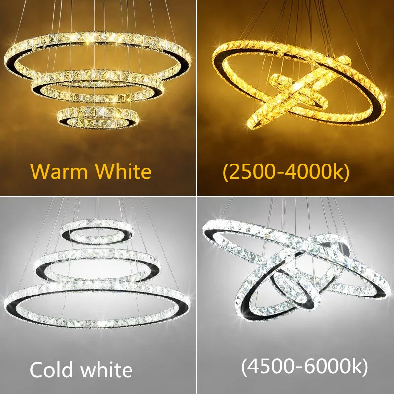 Modern Chrome Chandelier Crystals Diamond Ring LED Lamp Stainless Steel Hanging Light Fixtures Adjustable Cristal LED Lustre-in Chandeliers from Lights & Lighting    1