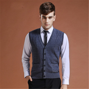 081d03dd57384 2018 Yeni Sonbahar Kış erkek Rahat Temel Örgü Yelek Düğmeleri Moda erkek  Yün Kazak Hırka Kolsuz V Boyun giysi