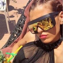 New Fashion Women Big Sunglasses Oversize Siamese Retro Glasses for Women Luxury Brand Accessories Black D Square Sun Glasses or