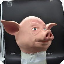 New Cute Animal Pig Mask Adult Size Full Head latex Mask Halloween Masquerade for Cosplay and Costume Big Discount Free Shipping