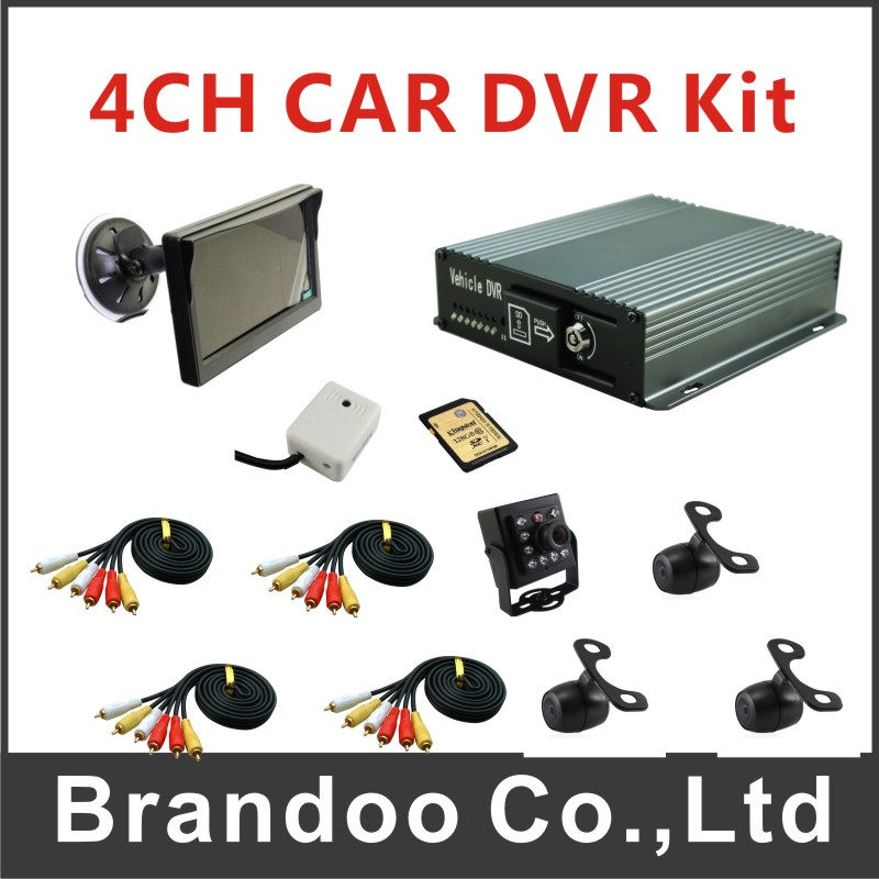 Complete CAR DVR kit, 4 camera and monitor, for bus,taxi,uber car used, sold by Brandoo