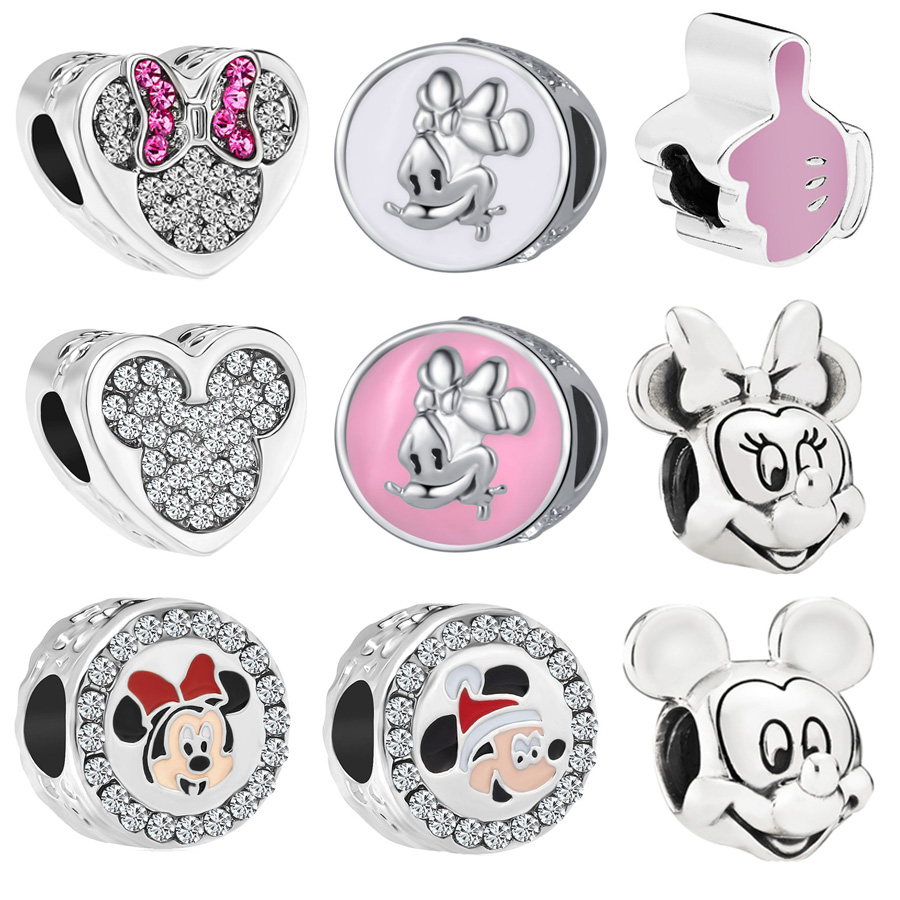 New Original Free Shipping Alloy Bead Mickey Mouse Minnie
