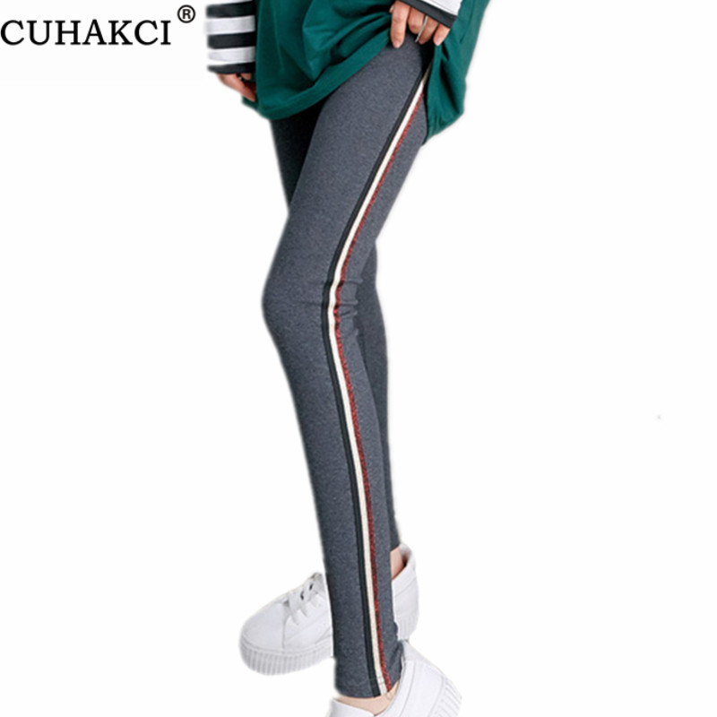 CUHAKCI Side Stripe Legging Sportwear Leggins Women's Active Quick Drying Gym Fitness Leggings Casual Pants Gray Cotton Trousers