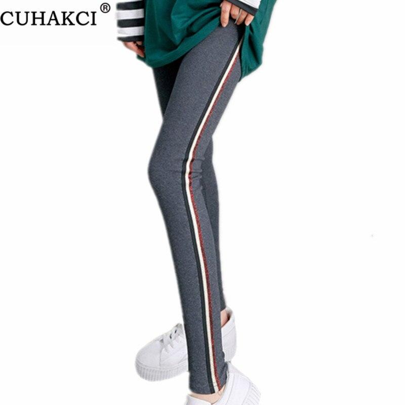 CUHAKCI Side Stripe Legging Sportwear Leggins Women's Active Quick Drying Gym Fitness Leggings Casual Pants Gray Cotton Trousers