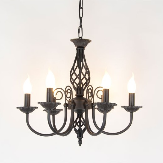 Vintage Wrought Iron Chandelier E14 Candle Light Lamp Black White Metal Lighting FixtureVintage Wrought Iron Chandelier E14 Candle Light Lamp Black White Metal Lighting Fixture