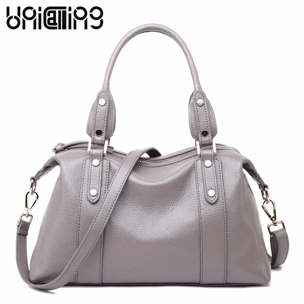 Genuine leather rivet  women bag European and American Style  Large capacity Simple leisure shoulder bags