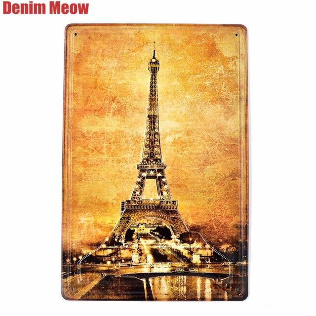 Eiffel Tháp Cổ Điển Nổi Kim Loại Dấu Hiệu Tin Nhà Thanh Casino Pub Trang Trí Tấm Paris Tường Dán Nghệ Thuật Retro Poster AT006