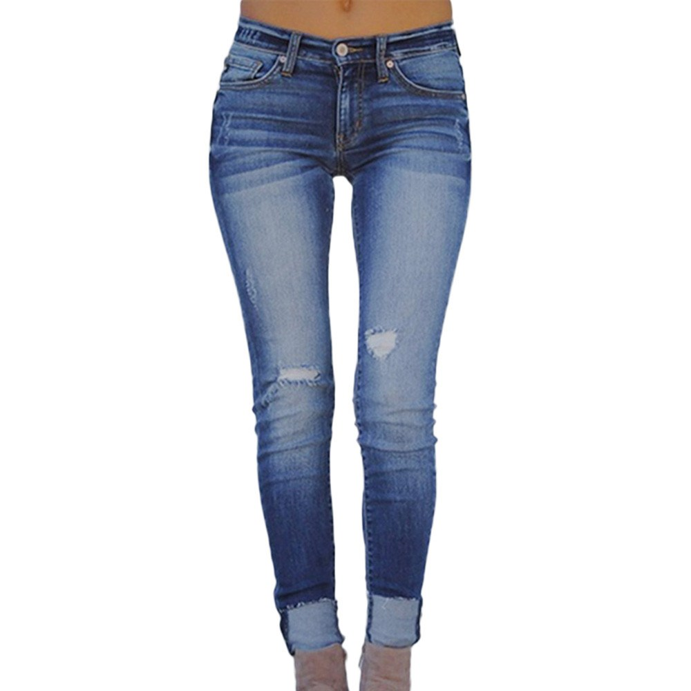 2019 Summer Women Elastic Plus Loose Hole Pencil Jeans Mid Casual Small Feet Cropped Solid Pockets Denims   Pants
