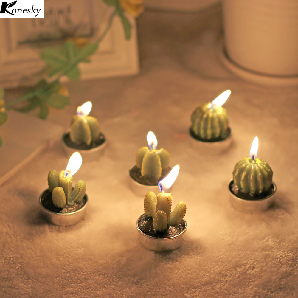 night light candle promotion shop for promotional night light new 6pcs set home decor rare mini cactus candle night light table tea light home plant candle decorative wedding candles