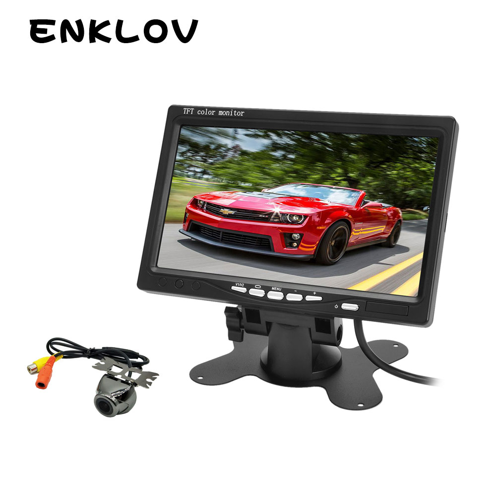"ENKLOV Car Wireless 2.4GHz 7"" Car Camera Rearview Monitor + CMOS Camera Kit - Black HD Rear View camera with Reverse Camera"