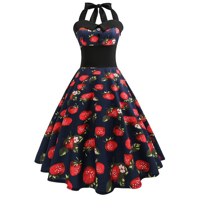 Retro Polka Dot Dress Women Knee-Length Strapless Halter Dress 50s 60s Gothic Robe Vintage Pin Up Rockabilly Summer Dresses