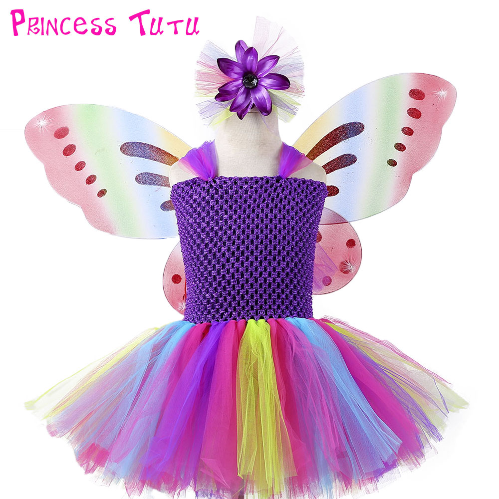 Rainbow Color Princess Fairy Girl Birthday Party Tutu Dress With Wings Baby Kids Holidays Cosplay Costume Children Clothes Set tinker bell fairy kids girl halloween party costume dress wings set 2 8year c247
