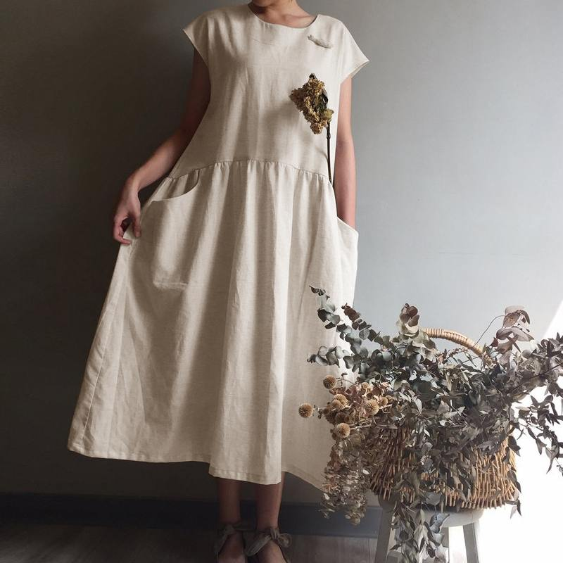 44bc25ab6a4 -Straight pockets on both sides -Loose A-line skirt dress -Sleek minimalist  oversized dress -Summer breathable cotton and linen fabric