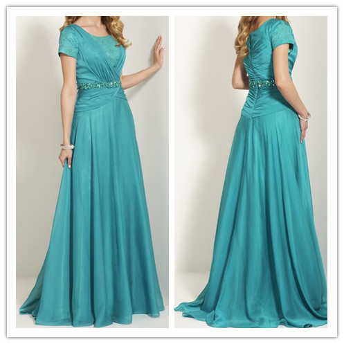 Modest Lace Bridesmaid Dresses Teal