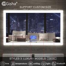 Gisha умное зеркало, LED зеркало для ванной комнаты, настенное зеркало для ванной комнаты, туалетное зеркало, противотуманное зеркало с сенсорным экраном, Bluetooth G8028