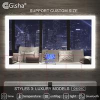 Gisha Smart Mirror LED Bathroom Mirror Wall Bathroom Mirror Bathroom Toilet Anti fog Mirror With Touch Screen Bluetooth G8028