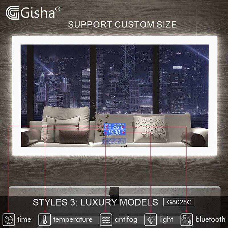 Gisha espelho inteligente led espelho do banheiro espelho de parede banheiro banheiro anti-nevoeiro espelho com tela de toque bluetooth g8028