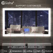 Умное зеркало Gisha, светодиодное зеркало для ванной комнаты, настенное зеркало для ванной и туалета, противотуманное зеркало с сенсорным экраном, Bluetooth G8028