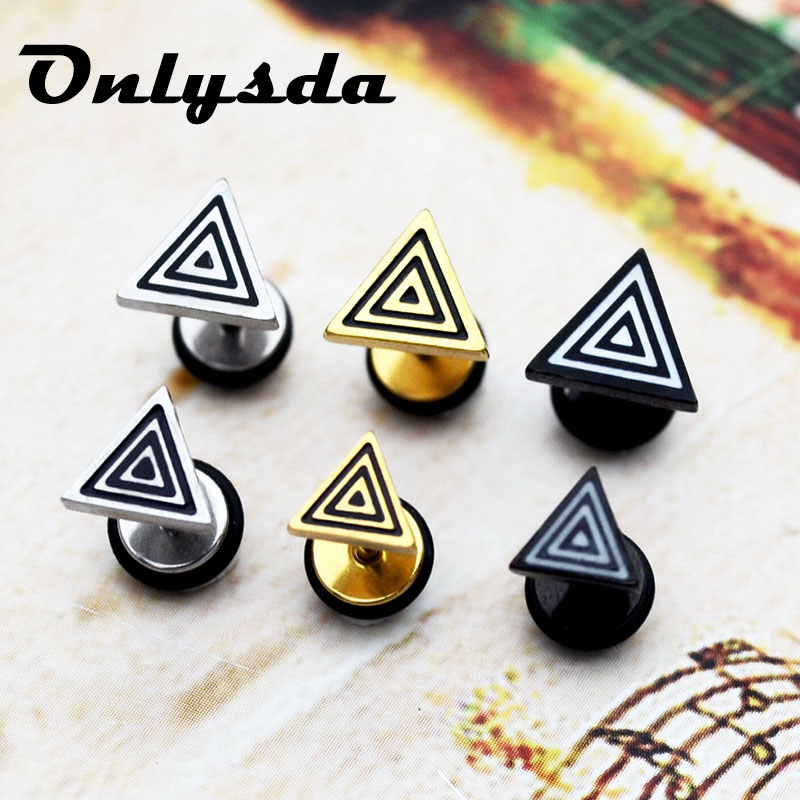 Onlysda Fashion Round triangle Shaped Silver Black Color Alloy Stud Earring For Man Women Ear Jewelry Boys Lover Gift ES032