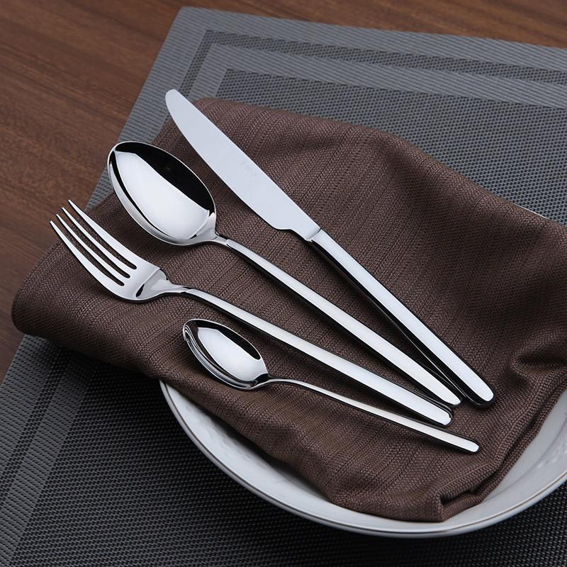 Cozy Zone 16 Pcs Set Simple Dinnerware Set Dinner Stainless Steel Cutlery Set Knives Forks Coffee
