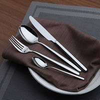 Cozy Zone 16 Pcs Set Simple Dinnerware Set Dinner Stainless Steel Cutlery Set Knives Forks Coffee Classic Family Tableware
