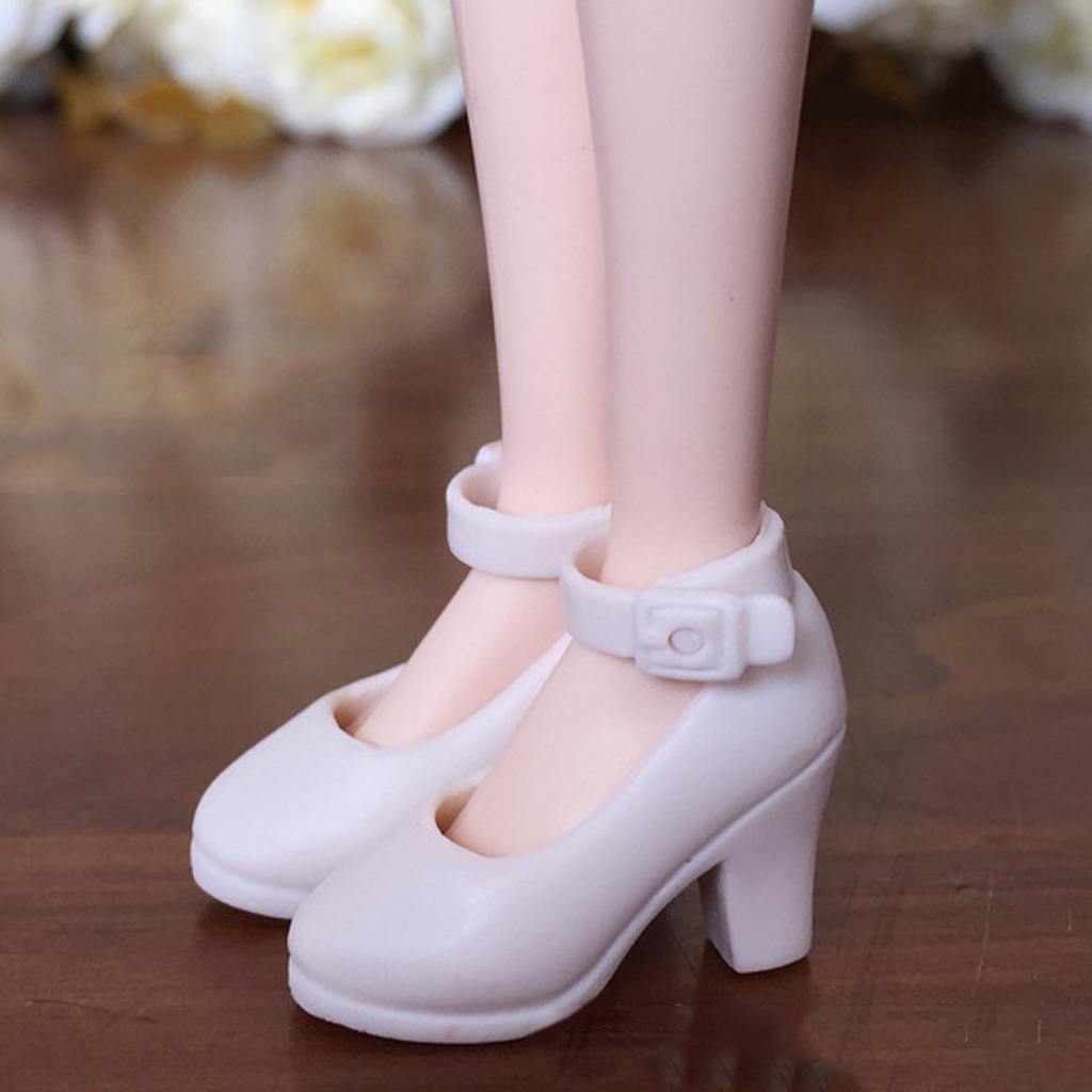 Pair of Fashion Shoes for Blythe Doll 1/6 Liccia Momoko 1/6 BJD Doll Dress up Accessory, White Color image