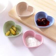 Разноцветное сердце «любовь» форма пшеничной соломы чаша уксус приправа Твердые соевое блюдо соус Соль закуски маленькая тарелка кухонные принадлежности