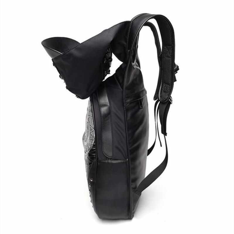 3D Coruja Padrão Com um chapéu Mochila Homens Moda Rebite Bolsa de Ombro Saco de Viagem Mochila de Couro Pu Hight Capacidade À Prova D' Água cap
