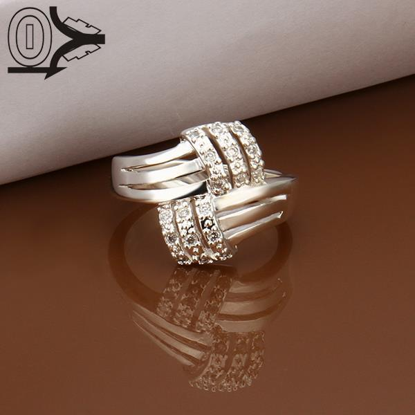 Christmas Gift Wholesale Silver-plated Ring,Silver Fashion Jewelry,Women&Men Gift Twisted Cross Cubic Zircon Silver Finger Rings