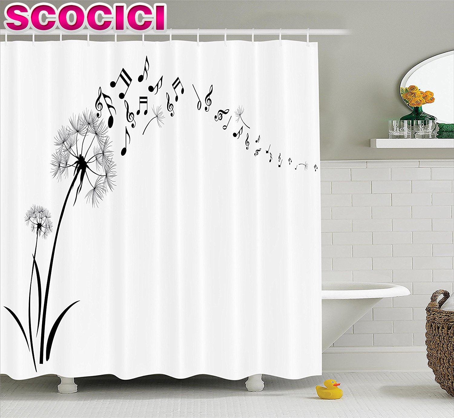 floral shower curtain set music decor dandelion with flying music notes summer garden art print bathroom accessories with hooks