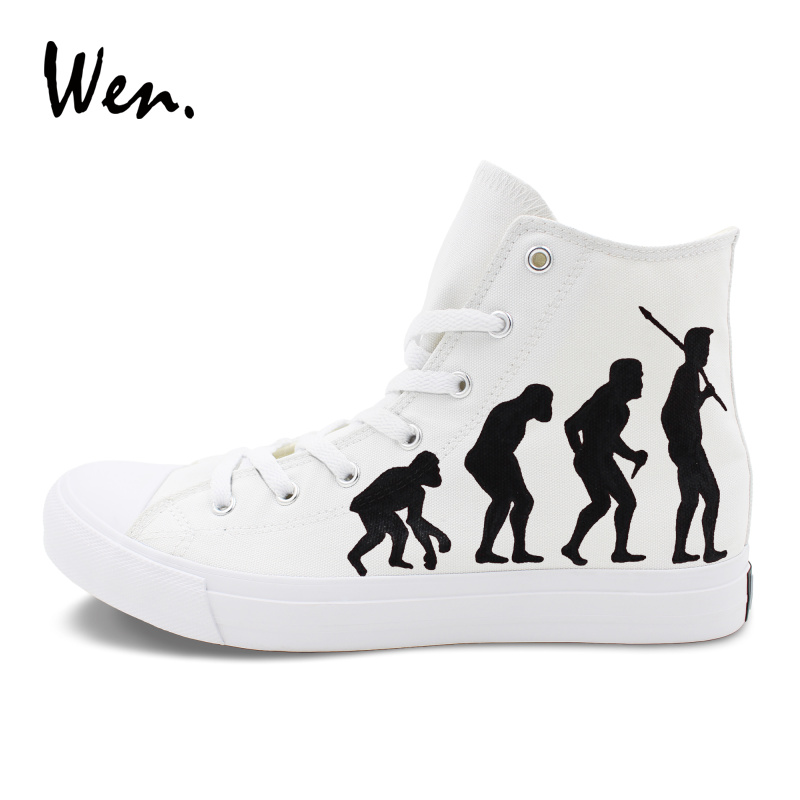 Personalizado Wen Blancos Cuerda Pintado Suela Original Humana Mujer Diseño Hombre Lona Evolución De Planos La Zapatos A Mano Zapatillas wA1wqTxfr
