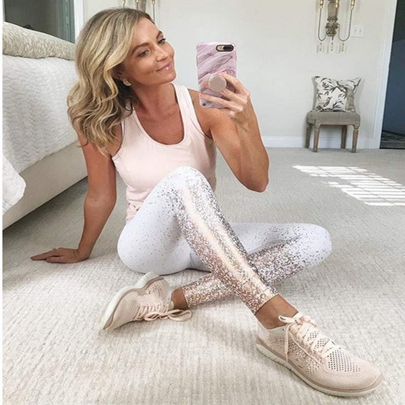 New Leggings Hot Stamping Gold Print Push Up Fitness Legging Women Workout Leggins Fashion Pencil Pants High Waist Legging Mujer