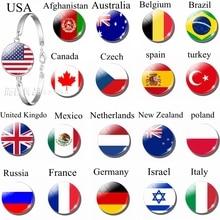 National Flags USA Spain Turkey Charm Glass Dome Jewelry Silver Metal Bracelet Bangles Punk Style Women Men Gift Wholesale