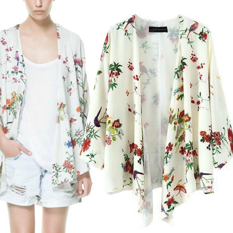 Flores Imprimir Kimono Cardigan Mujeres Blusas Tallas Grandes Gasa Blusas Femininas Primavera 2016 Kimonos Con Forro Blouse Tunic Blouse Sizecoat Purple Aliexpress