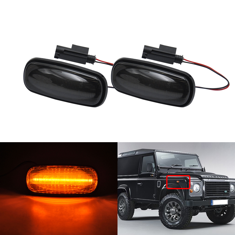 Direct Fits For Land Rover Defender Td5 Freelander Discovery2 Smoke Clear Amber Led Turn Signal Lights