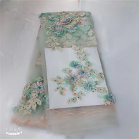 floral neat embroidery teal French lace 2018 latest design African lace Tulle fabric with stones beads 5 yards high qualityH1200