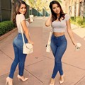 Mujeres Pantalones Vaqueros Flacos Del Lápiz 2016 Venta Caliente Grande de La Manera Del Paquete de La Cadera Más Tamaño Pantalones Pantalones de Corte Barato Ropa de China