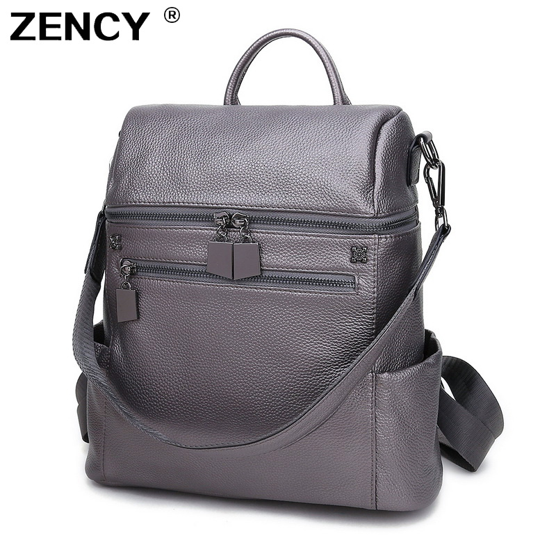 ZENCY Genuine Leather White Women's Multifunctional Backpack First Layer Cow Leather Female Shopping Backpacks Cowhide Bag-in Backpacks from Luggage & Bags    1