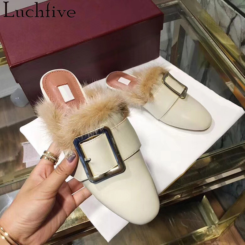 Fall winter chic Women rabbit fur Slippers genuine leather flat Heels Shoes Women round Toe Slip On warm lazy outdoor mules fall winter chic women rabbit fur slippers genuine leather flat heels shoes women round toe slip on warm lazy outdoor mules