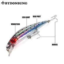 BYDONSUNG 18G 12.5CM USB Rechargeable Flashing LED gentle Twitching Fishing Lures Bait Electrical Life-like vibrate fishing Lures