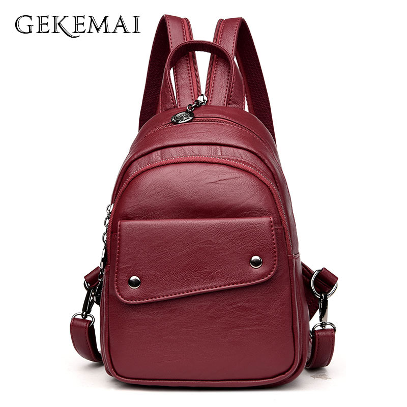 Sac A Dos Women Multifunction Backpack Female Leather Chest Bag Large Capacity Backpacks School Bags For Girl Travel Back Pack