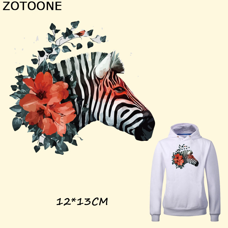 ZOTOONE Watercolor Flower Zebra Iron on Patches for Clothes Iron-on Transfers Heat A-level Washable Stickers Appliques C