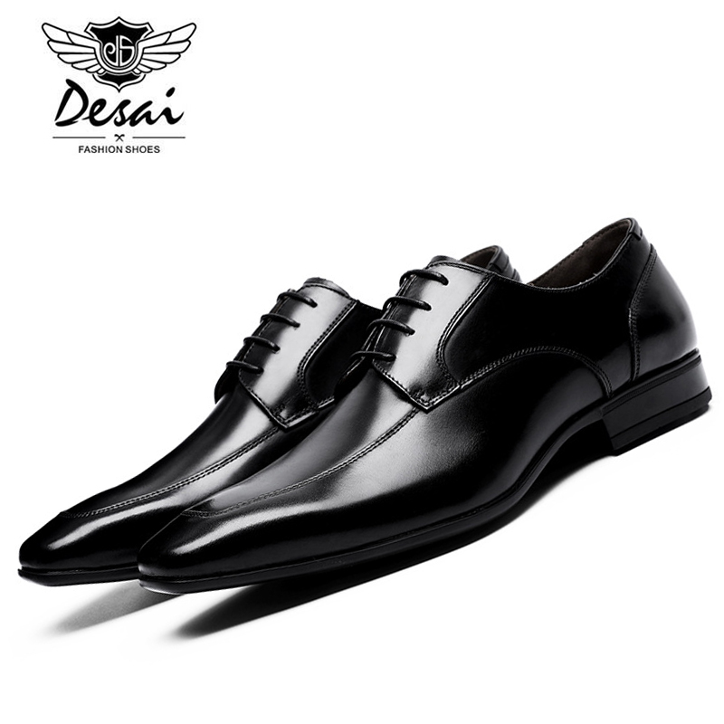 DESAI Brand 2017 Autumn New Arrival Brogue Men Leather Shoes Genuine Formal Dress Shoes Wedding Shoes Man Size 38-44 DS6711 skp151custom made goodyear 100% genuine leather handmade brogue shoes men s handcraft dress formal shoes large plus size