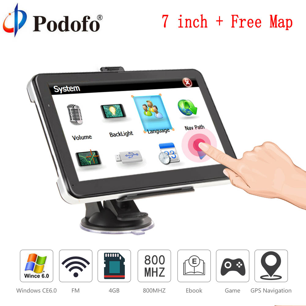 Podofo 7 HD Truck Car GPS Navigation Win CE 6.0 Capacitive screen 8GB Vehicle Truck FM Muti-media player Sat nav with Free Maps 704 7 inch truck car gps navigation navigator with free maps win ce 6 0 touch screen e book video audio game player function