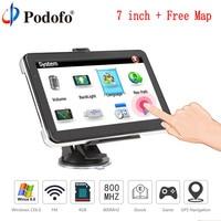 Podofo 7 HD Truck Car GPS Navigation Win CE 6.0 Capacitive screen 8GB Vehicle Truck FM Muti media player Sat nav with Free Maps