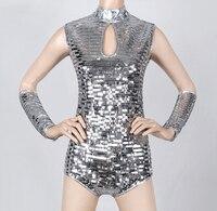 2016 النساء أزياء الفضة الترتر قطعة واحدة بذلة مطربة dj مدور الجاز الرقص ds زي مثير الملابس مجموعة