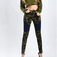 Camouflage Army Green Moto Jeans Women Plus Size Stretch Biker Jeans Woman Zip Mid High Waist Stitching Skinny Denim Pencil Pant