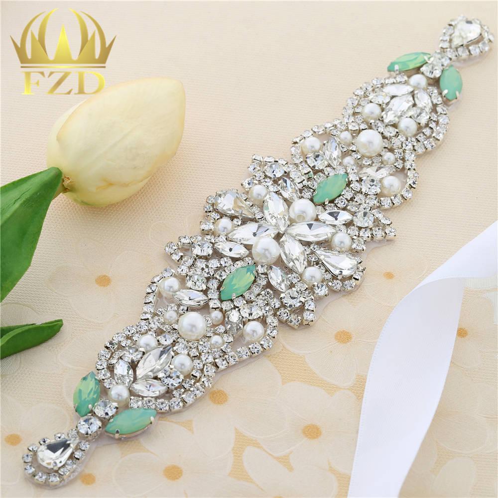 Handmade Hot Fix Sewing on Pearls Beaded Bridal Sash Swarovski Green Rhinestone  Applique for Garments Wedding Dress Sashes Decor-in Rhinestones from Home  ... 159628450c34