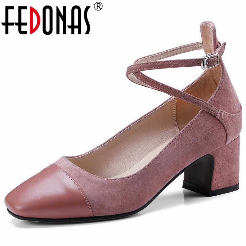 FEDONAS Fashion New Woman Thick High Heeled Pumps Genuine Leather Square Toe Wedding Party Shoes Woman Female Office Pumps
